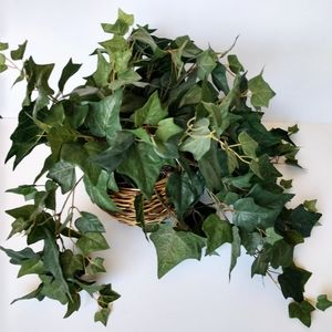 Faux House Plant Leaves In Basket Decor Fake
